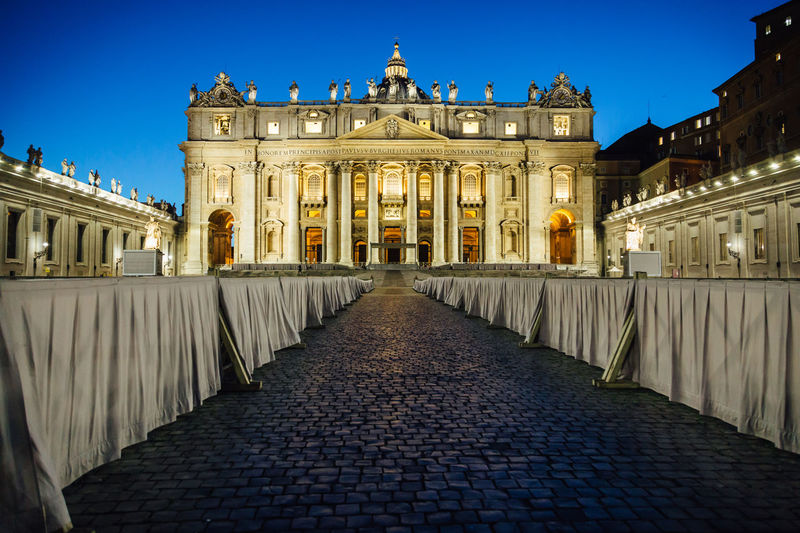 St Peter's Basilica in the Vatican Catholic Renaissance Rome Architecture Building Exterior Built Structure Famous Places History Illuminated Night Outdoors Religion St Peters Basilica St Peters Square Tourism Travel Destinations