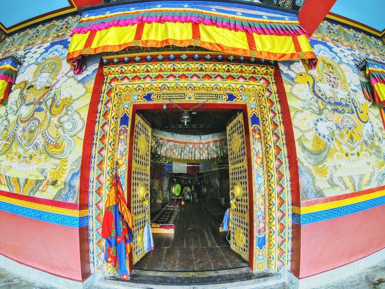 My Year My View Multi Colored Architecture Travel Religion Built Structure Travel Destinations Place Of Worship Spirituality Day Tradition Building Exterior Outdoors No People Sky Flag Doors Door Doorporn Doorway Doorstep Architectural Design Monastery Tawang