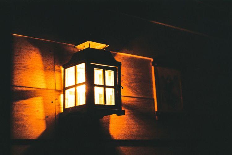 Close-up of illuminated window