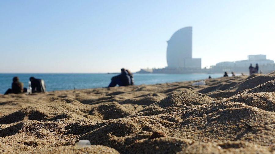 Barcelona SPAIN Sea Barceloneta Beach Sea Sand Sky Clear Sky Day Outdoors Nature Horizon Over Water