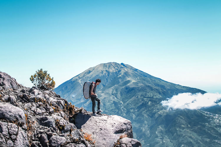 Adventure Mountain One Person Adults Only RISK One Man Only Danger People Hiking Outdoors Climbing Challenge Vacations Travel Sunlight Only Men Day Sky INDONESIA