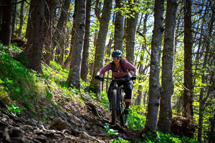 Woman mountain biking on footpath in forest, salzburg, austria