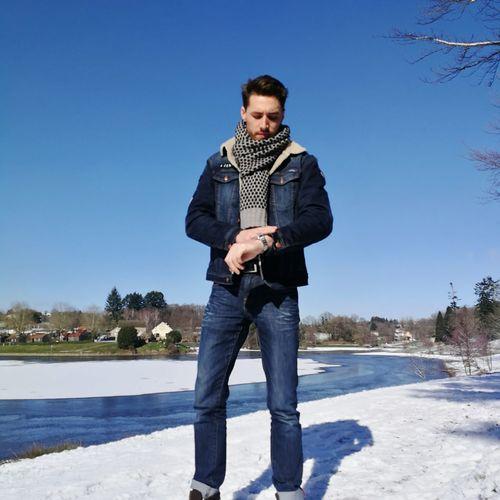Winter time. EyeEm Selects EyeEmNewHere Full Length Men Standing Water Portrait Clear Sky Beard Front View Sky Denim Cool Denim Jacket Footwear Hot Pants Pocket  Posing Jeans Pants Warm Clothing