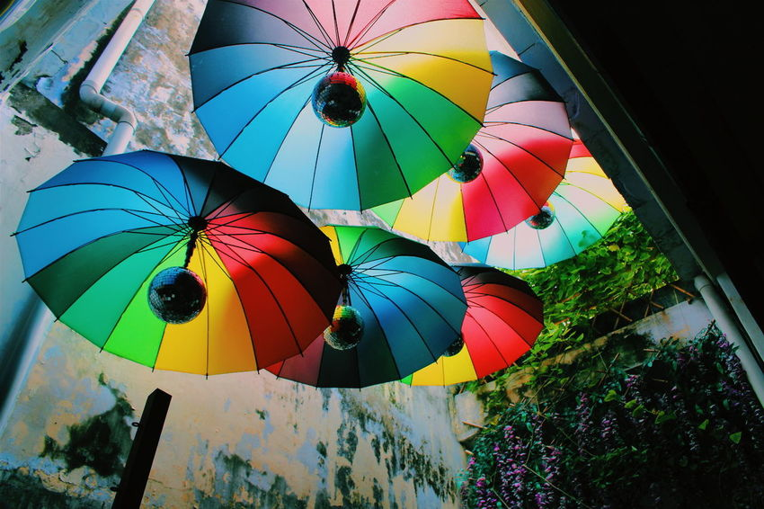 Dramatic Angles Rainbow Umbrella Colours From The Bottom Interior Design Cafe Penang Street Art Creativity Penang Malaysia