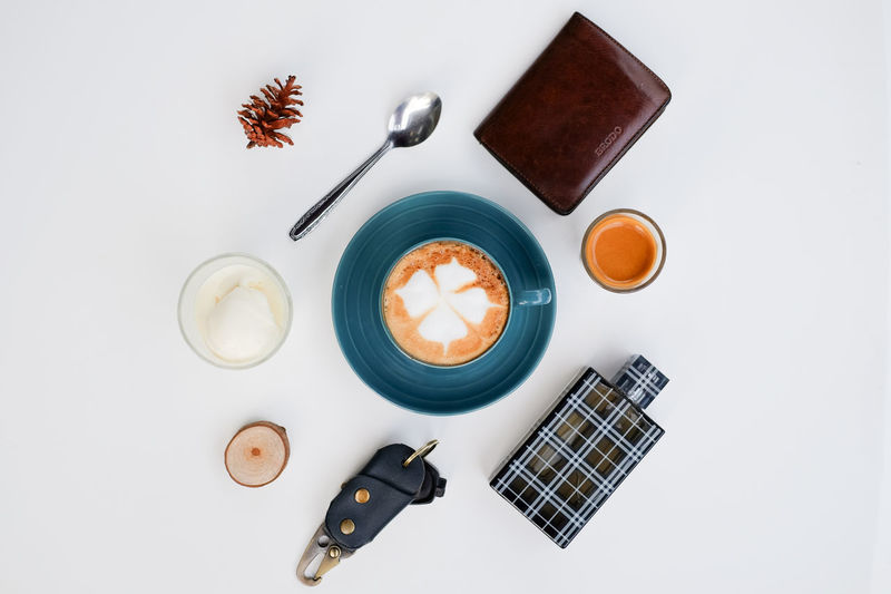 which one do you like cappucino or affogato? Still Life Wireless Technology Drink Studio Shot Coffee - Drink Directly Above High Angle View Love Portable Information Device Coffee Break White Background Cappuccino Latte Coffee Foam