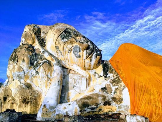Giant Sleeping Buddha Buddha Statue Nature Sky Beauty In Nature Cloud - Sky Scenics Landscape Outdoors Travel Destinations No People Day