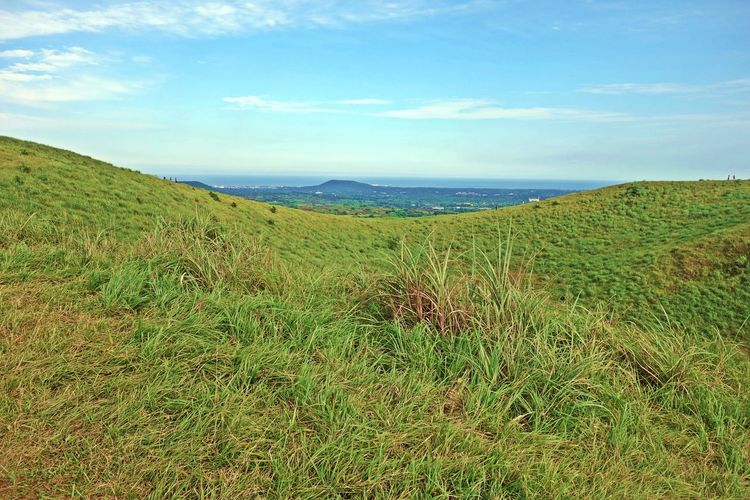 a view through a crater and a ridge at a Yongnuni Oreum volcanic cone,jeju island,korea,asia ASIA Beautiful Blue Cloud Cone Crater Field Grass Island Jeju Korea Landscape Mountain Nature Oreum Ridge Sky Tranquility Travel Trip View Volcanic  Volcano White Yongnuni