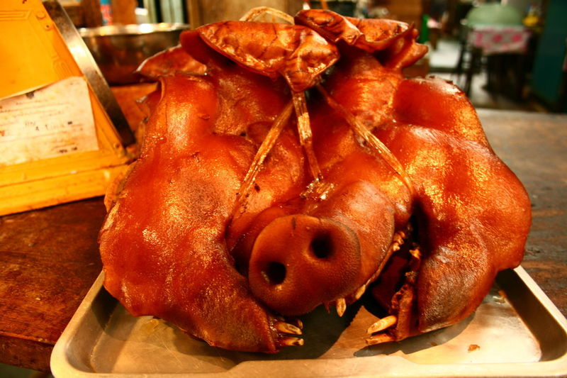 No People Close-up Indoors  Food Animal Themes Day Freshness Mammal Pig Head หัวหมู Thailand