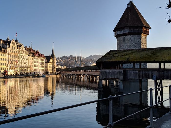 winter morning in Luzern Cityscape Lucerne Luzern Old Town Reflections In The Water Politics And Government City Place Of Worship Water Religion Clock Face History Reflection Lake Bell Tower - Tower Steeple