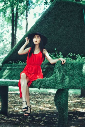 Piano Day Piano Lover Piano Time Piano Moments Piano Red Dress Young Adult One Person Young Women Fashion Tree Full Length Portrait Outdoors Day Casual Clothing Lifestyles Real People Red Looking At Camera Beautiful Woman Beauty Standing Happiness Fashion Model Smiling