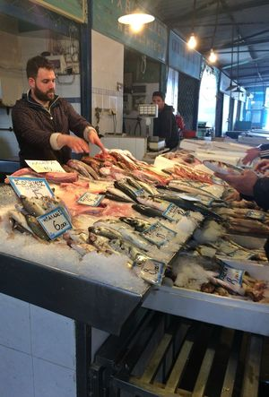 Agora Colorful Day Fish Food Food And Drink Foodphotography Freshness Indoors  Market Mediterranean  Men One Person People Real People Salesman Seafish Selling The Street Photographer - 2017 EyeEm Awards