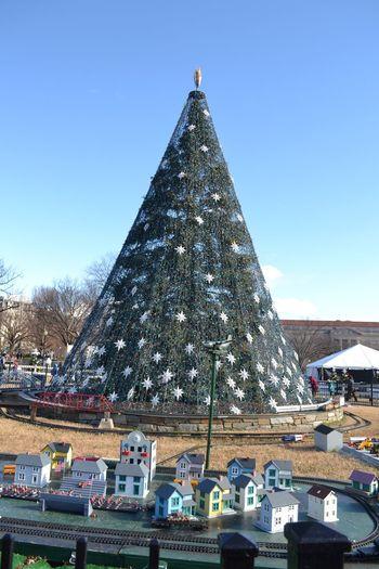 Christmas tree against clear sky