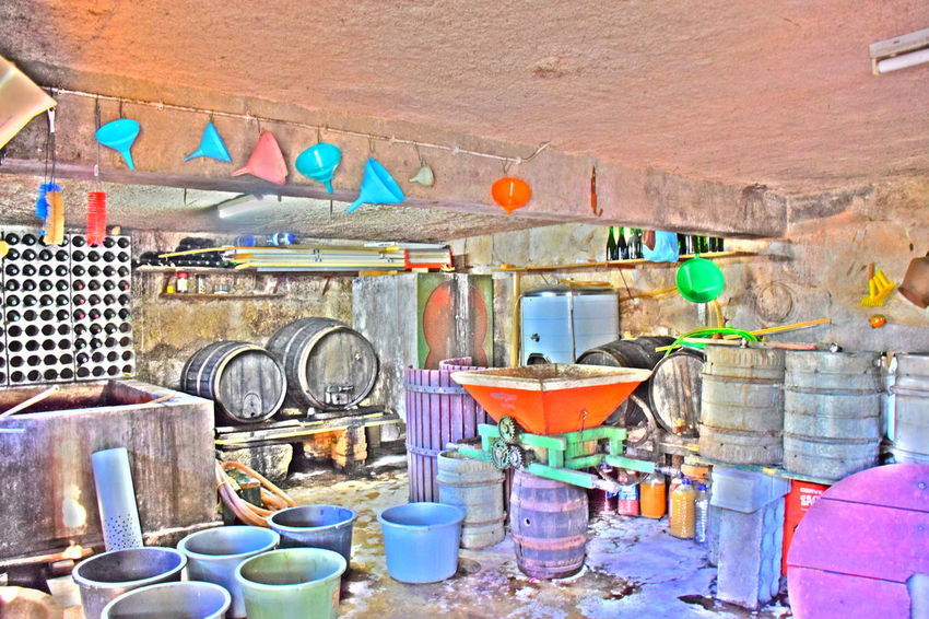 Multi Colored Variation Large Group Of Objects No People Indoors  Day Winery Wine Taking Photos Colorful Utensils Cellar Winehouse Bodega Food And Drink Industry Abundance Cellar House