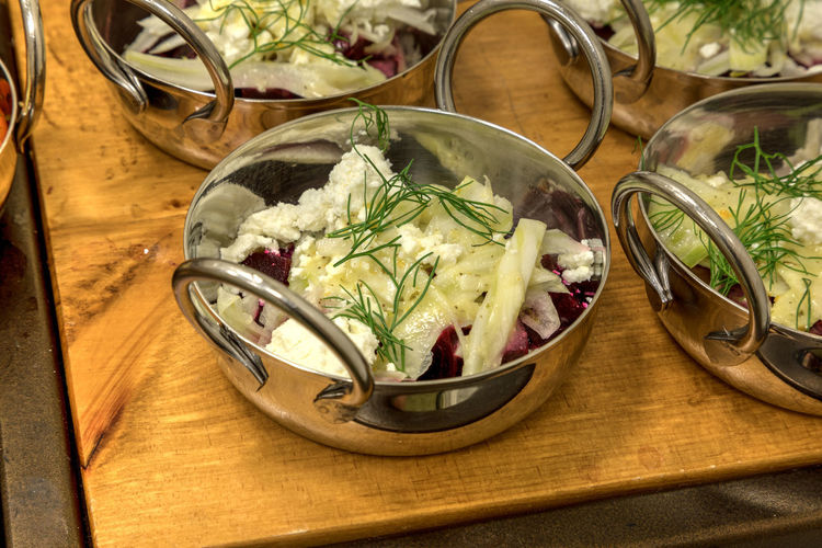 Goat cheese and red beet salad in small stainless steal single serving bowls. Goat Cheese Beet Beet Salad Salad Small Portion Healthy Eating Healthy Healthy Lifestyle Single Serving Small Serving Greens Vegetable Red Beet Buffet Lunch Meal Dinner