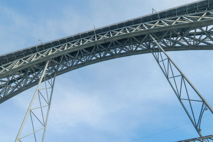low angle view on ponte dom luis I bridge in Porto, Portugal Sky Ponte Dom Luís I Construction Low Angle View Portugal Porto Attraction Site City Steel Metal Architecture