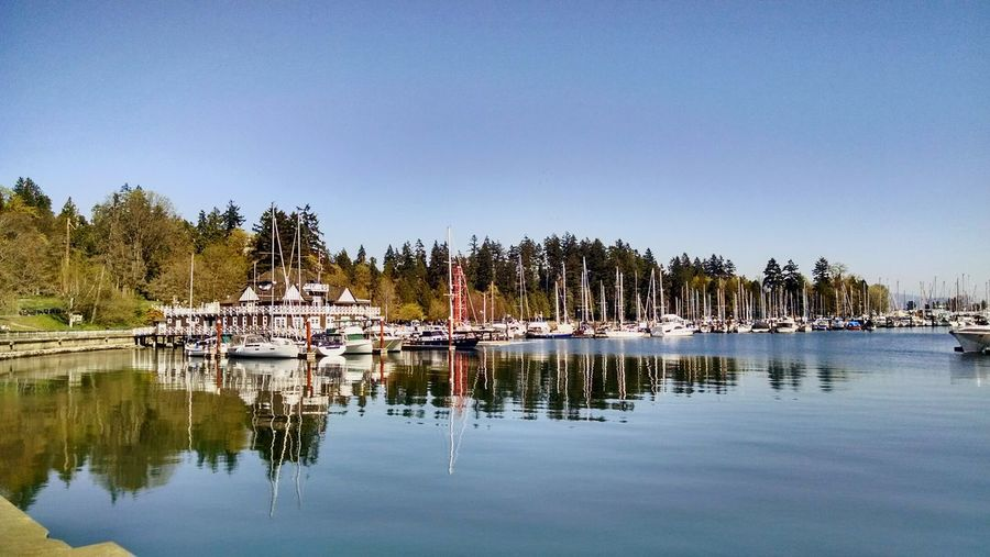 Sailboats moored in lake against clear sky