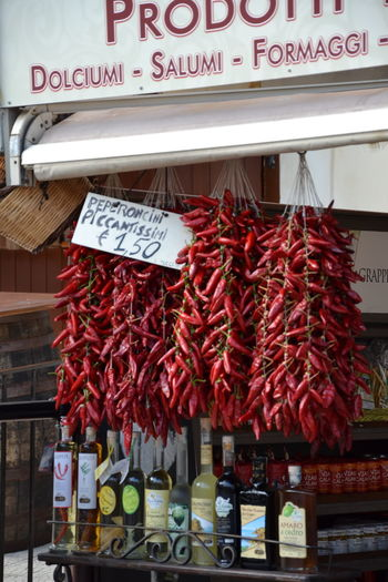 Red for sale at market stall