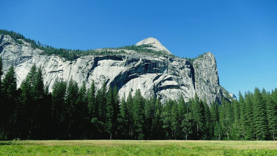 Scenic view of cathedral rocks at yosemite national park against sky