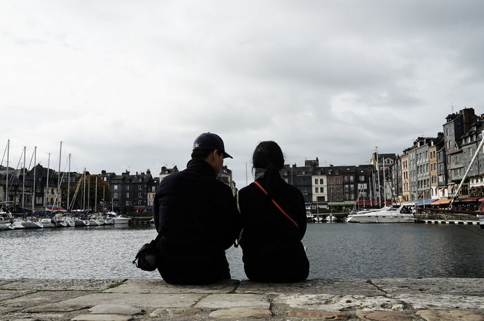 Honfleur October Travel Photography Built Structure City Day Harbor Nautical Vessel People Real People River Sitting Sky Two People Water With Wife Young Adult Second Acts