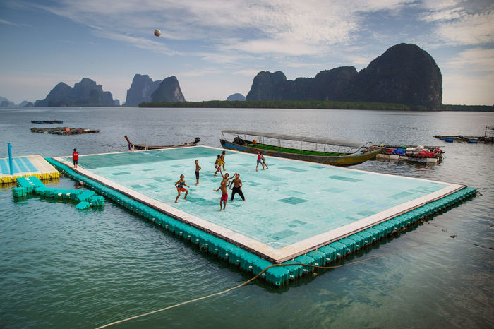 Floating soccer field in Ko Panyee, Thailand ASIA Beauty In Nature Day Football Football Fever Koh Panyee Leisure Activity Lifestyles Nature Outdoors People Real People Scenics Sea Seascape Sky Soccer Soccer Field Sport Sports Thailand Travel Travel Destinations Water