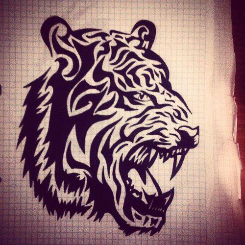 арт  рисунок тату Эскиз тату_эскиз тигр черный гелевая_ручка ручка Art Art_Worldly