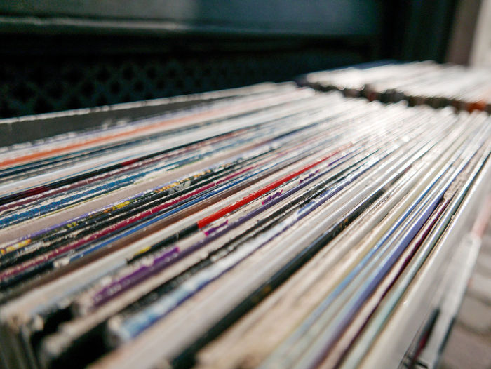 Collection of vinyl records for sale in store
