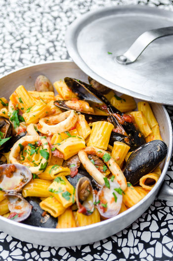 Herb Meal Food Food And Drink Foodphotography Freshness Garnish Gourmet Healthy Eating Indoors  Italian Food Kitchen Utensil Mussels No People Organic Pasta Plate Ready-to-eat Seafood Still Life Table Tabletop Wellbeing Yummy