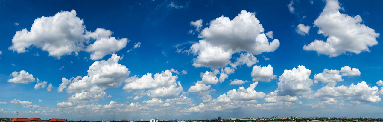Blue sky scape in panorama with white cloudy, cloud scape wide angle. Blue Sky Clods And Sky Cloud - Sky Cloudscape Day Horizon Landscape Landscape Photography Landscapes Meteorology Nature No People Outdoors Ozone Panorama Scenic Sky Scape Summer Urban Skyline White Wide Angle