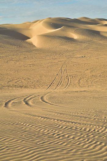 Scenic view of sand dunes at desert against sky
