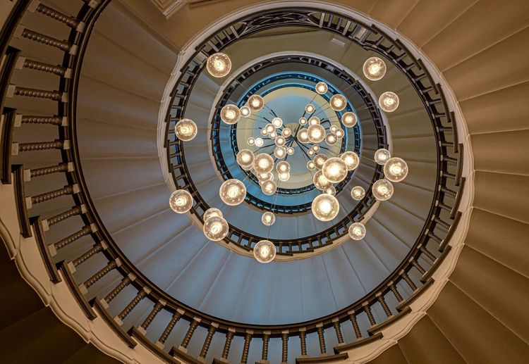 Spiral staircase Spiral Pattern Spiral Design Spiral Stairs Spiralstaircase Spiral Staircase Spiral Architecture Built Structure Directly Below Indoors  Low Angle View Pattern Lighting Equipment Illuminated Decoration