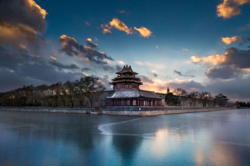 故宫角楼-朵朵彩云!故宫 Beijing Winter Water Reflection clouds sunshine