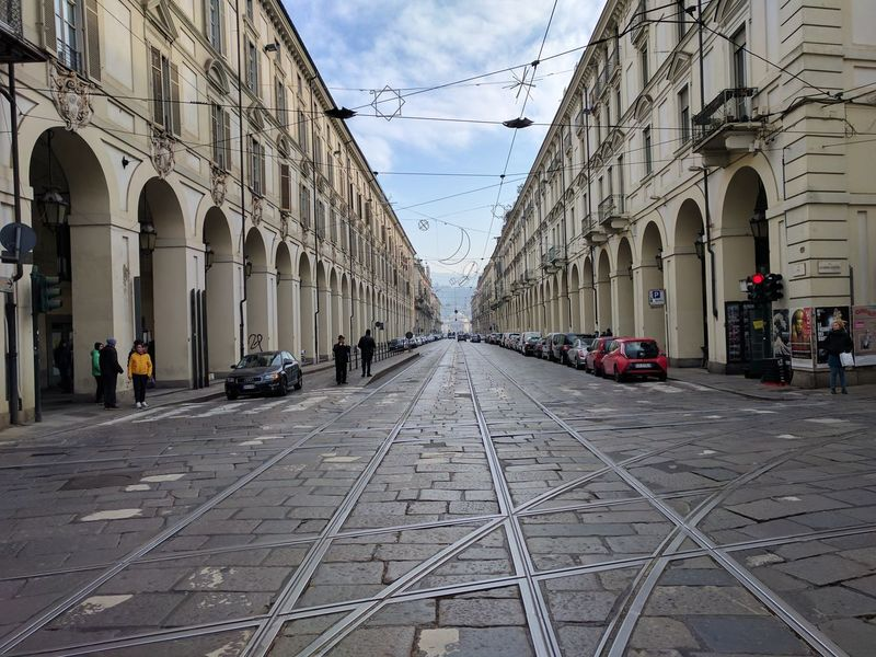 City Columns Central Perspective Perspective Rails Torino