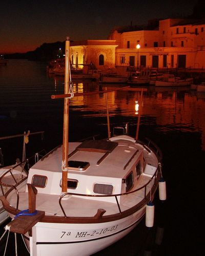 Menorca Islas Baleares Orange Color Reflections In The Water Reflection_collection EyeEm Gallery Night Lights Boat Nightphotography Baleares Travel Travel Photography Relaxing Showcase April Ciudadela (Menorca). Ciudadella (Menorca). Cities At Night