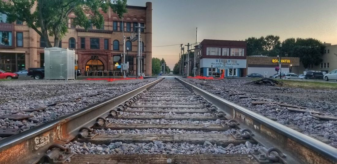 follow the tracks Railroad Track Rail Transportation Architecture Sky Building Exterior