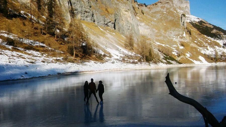 Lake Scenery Reflection Ice Frozen Water Mountain Men Sky