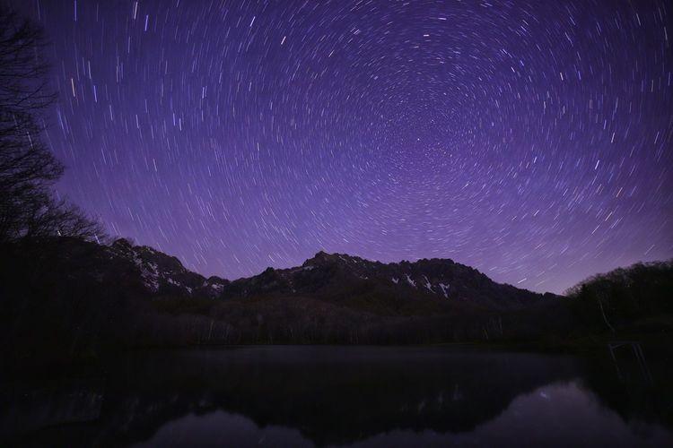 令和もやっぱり鏡池🌌ちょいと暗すぎる😅 中華レンズ 老蛙 Laowa15mmf4 銀河鉄道の夜♪ Astronomy Galaxy Space Milky Way Star - Space Constellation Tree Mountain Star Field Purple Astrology
