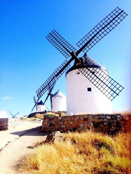 Moinhos Blue Sky Paisagem Rural Scene Wind Turbine Low Angle View Architecture