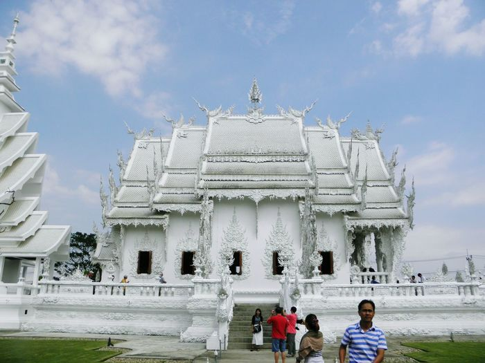 Sanctuary of Wat Rong Khun. Chiang Rai. TH. Focus On Foreground Sculpture Full Frame Thailand Temple Landscape Tradition Beauty Religion Spirituality Outdoors Buddhism Culture Buddhist Temple Luxury Illuminated Arts Culture And Entertainment Place Of Worship Travel Destinations Travelling Thailand BUDDHISM IS LOVE Ornate Low Angle View Architecture Scenics No People Statue