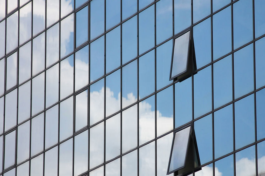 Glass - Material Window Pattern Reflection Architecture Building Exterior Built Structure Backgrounds Full Frame Modern Day No People Outdoors Skyscraper City Sky Building Windows Break In The Pattern Abstract Urban Modern Textures And Surfaces ミーノー!! Colour Your Horizn
