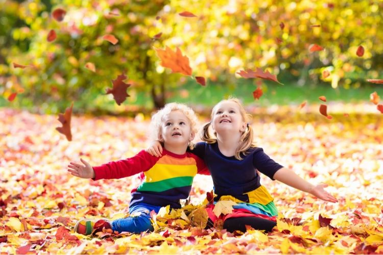 Sisters Playing With Autumn Leaves At Public Park