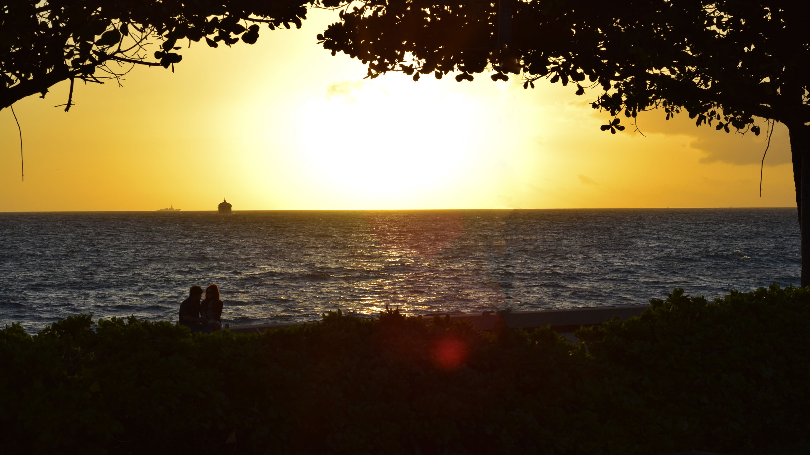 sea, sunset, sun, horizon over water, water, scenics, real people, nature, two people, tree, silhouette, beauty in nature, tranquility, tranquil scene, outdoors, sky, shiny, people, day