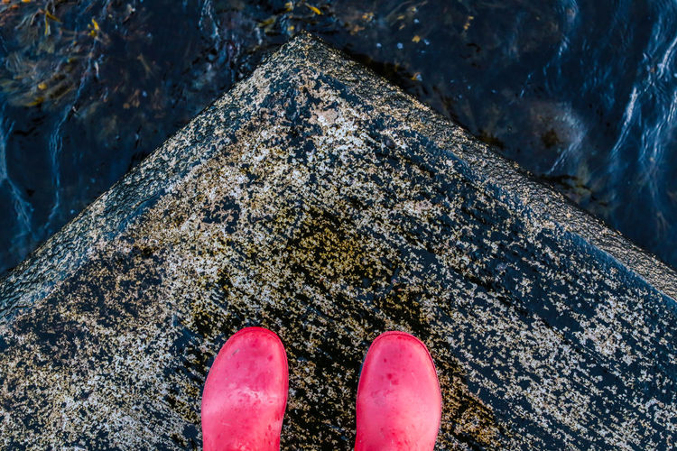 Low section of person standing on rock
