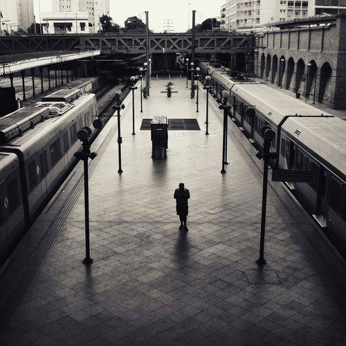 Only Lonely Streetphotography Sao Paulo - Brazil City Life Saopaulocity Photooftheday Trains Train Station Blackandwhite Blackandwhite Photography