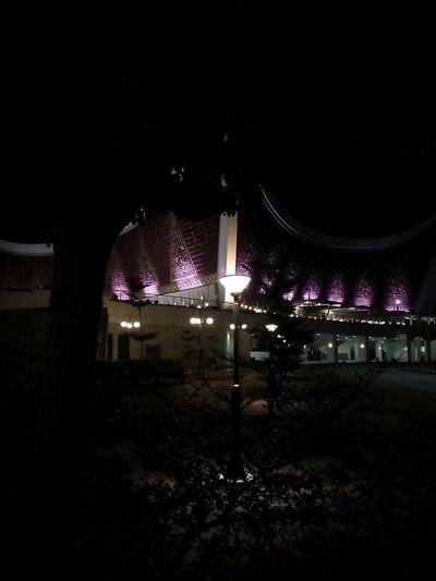 Illuminated buildings in the dark