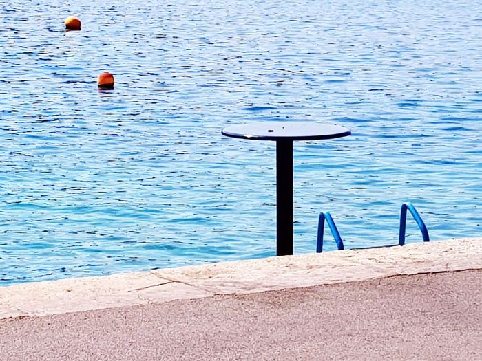 Water Sea Rippled Blue Tranquility Beach Balance Sea View Paradise Swimming Happyness Clear Sky Horizon Over Water Blue Water Staircase Sea And Sky Table Setting Table At The Beach Graphic Photography Graphic Photo Blue Sea Tranquility Outdoors Travel Destinations Boatlife