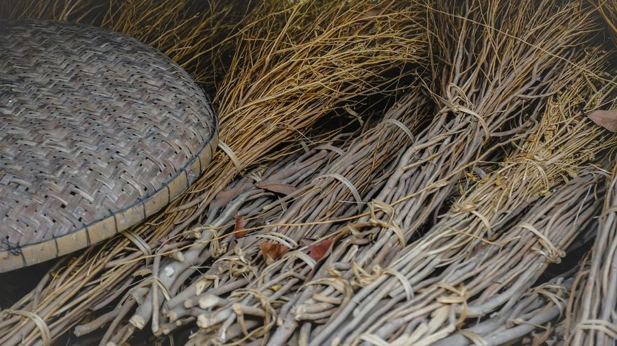 High angle view of wicker basket