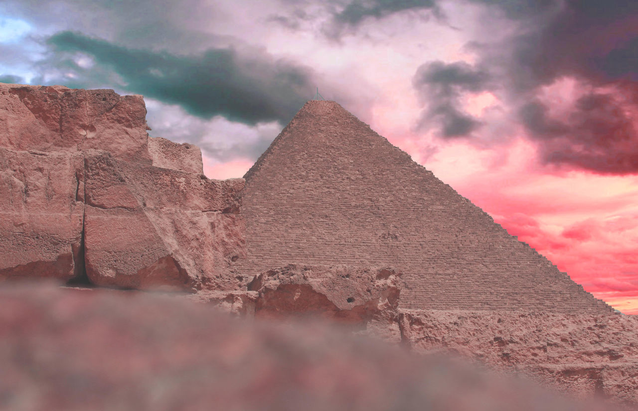 pyramid, ancient, ancient civilization, history, the past, cloud - sky, sky, travel destinations, built structure, architecture, outdoors, old ruin, day, no people, nature, building exterior