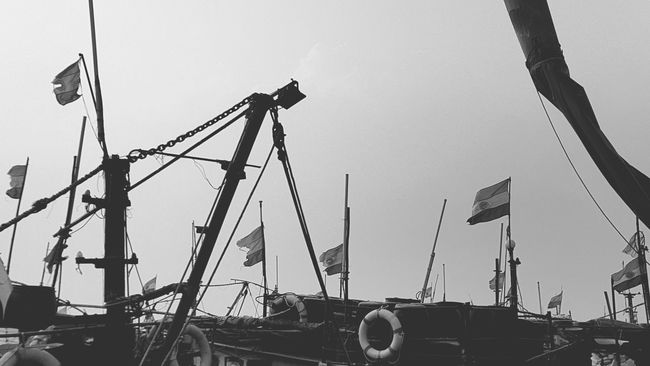 Fishingboats Flags In The Wind  B&w Port Flag