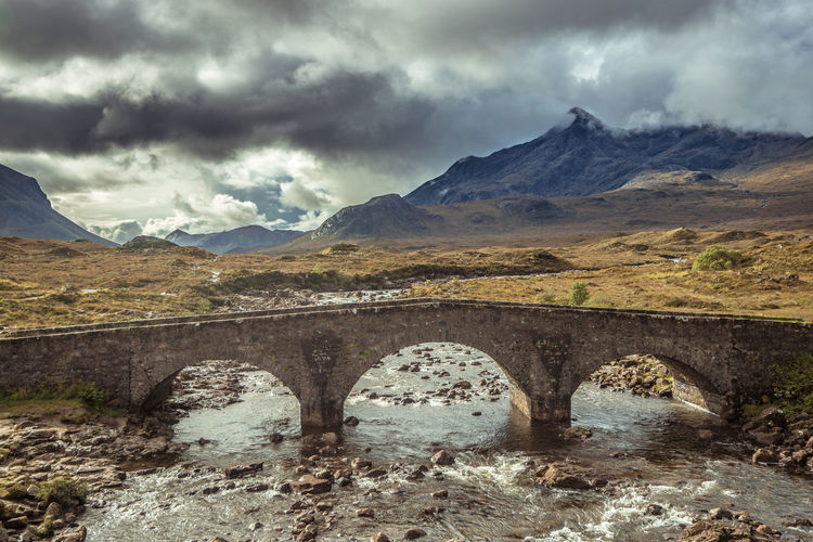 Arch Bridge Over River Against Mountains