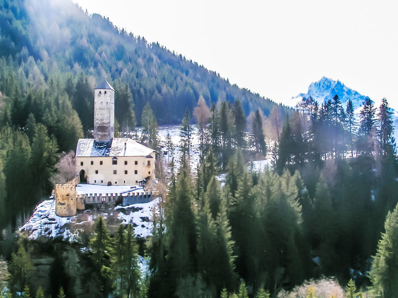tree, mountain, plant, architecture, sky, nature, built structure, beauty in nature, building exterior, day, building, scenics - nature, land, winter, mountain range, growth, no people, cold temperature, travel, outdoors